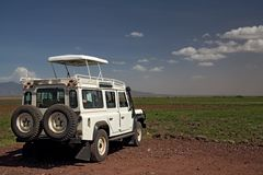 Transportation 004 safari vehicle. Plus landscape Royalty Free Stock Photography