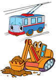 Transportation. Cartoon trolley and humanized Excavator Stock Images