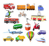 Transportation. Illustration of different means of transport, isolated on a white background Stock Photography