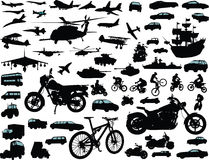 Transportation. Set of transportation silhouettes: cars, planes, bikes, ships Stock Images