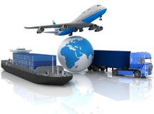Transportation. Types of transport of transporting are loads Stock Image