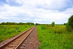Transportation. Rail way on green field Stock Photo