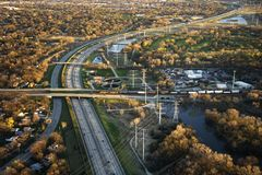 Transportation. Aerial view of interstate and railroad in Chicago, Illinois Royalty Free Stock Image