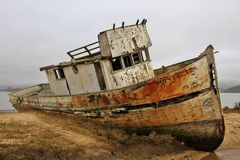 Transportation: Abandoned boat in Point Reyes Royalty Free Stock Images