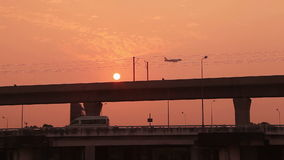 Transportation Aircraft Sunrise Bridge stock footage