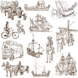 Transportation 2. Transportation around the World (set no.2, white set ) - Collection of an hand drawn illustrations. Description: Full sized hand drawn Royalty Free Stock Images