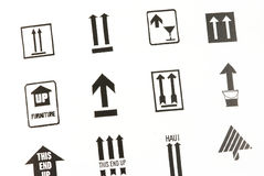 Transportation arrow signs. Different arrow signs used in packages for transportation Royalty Free Stock Photography