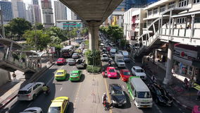Transportation of Bangkok, Cars and sky train traffic jam stock video