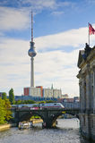 Transportation in Berlin. View on fernsehturm (tv tower) and transportation by train and ship in Berlin, capital of Germany Stock Photo
