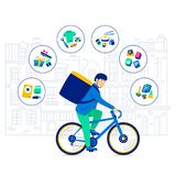 Transportation Bicycle Clothing and Products for Photo Shoots. Speed Delivery Biking Postal Medical Samples. Bicycle carriers hired deliver items nutrition royalty free illustration