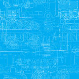 Transportation blueprint. Seamless blueprint pattern with vehicles, machines Royalty Free Stock Images