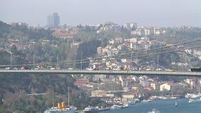 Transportation on Bosporus Bridge Closeup. In Istanbul stock video