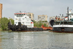 Transportation of bulky cargo on the barge Royalty Free Stock Photo