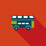Transportation bus flat icon with long shadow. Cartoon vector illustration stock illustration
