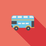 Transportation bus flat icon with long shadow. Cartoon vector illustration royalty free illustration