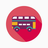 Transportation bus flat icon with long shadow. Vector illustration file stock illustration