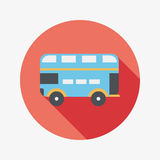 Transportation bus flat icon with long shadow. Vector illustration file royalty free illustration