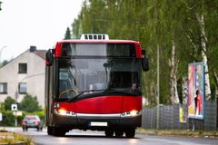 Transportation bus in motion Stock Photography