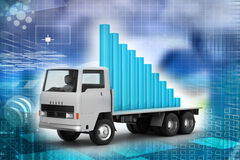 Transportation of business graph in  truck Stock Photos