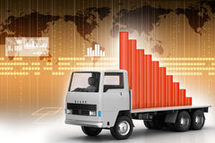 Transportation of business graph in  truck Royalty Free Stock Image
