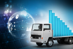 Transportation of business graph in  truck Royalty Free Stock Photography