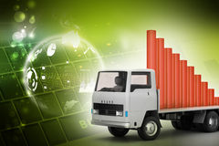 Transportation of business graph in  truck Stock Images