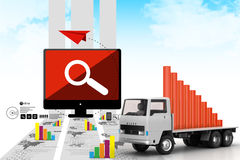 Transportation of business graph in  truck Royalty Free Stock Photo