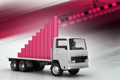 Transportation of business graph in  truck Royalty Free Stock Images