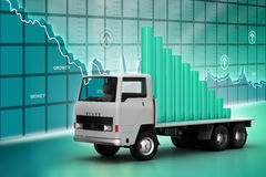 Transportation of business graph in  truck Royalty Free Stock Photos