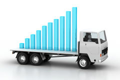 Transportation of business graph in  truck Stock Image