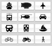 Transportation Buttons - Black and White. Set of 12 transportation web buttons - black and white square style royalty free illustration