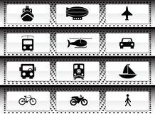 Transportation Buttons - Black and White. Set of 12 transportation web buttons - black and white style royalty free illustration