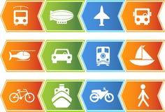 Transportation Buttons - Chevron. Set of 12 transportation web buttons - chevron style Stock Illustration