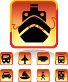 Transportation Buttons - Fire. Set of 9 transportation web buttons - square fire style Stock Photography