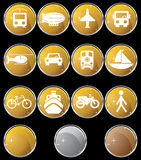 Transportation Buttons - Gold Round. Set of 12 transportation web buttons - gold round style Stock Photography