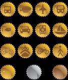 Transportation Buttons - gold seal. Set of 12 transportation web buttons - gold seal style Stock Images