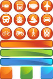 Transportation Buttons - Round. Set of 12 transportation web buttons - round style Stock Photos