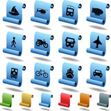 Transportation Buttons - Scroll. Set of 12 transportation web buttons - scroll style stock illustration