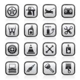 Transportation and car repair icons Stock Photos