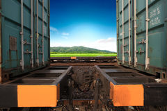 Transportation of cargoes by rail. In containers Stock Image