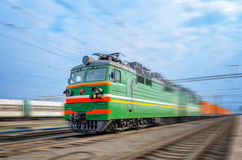 Transportation of cargoes by rail in containers Royalty Free Stock Photo