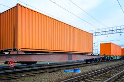 Transportation of cargoes by rail in containers Stock Photo