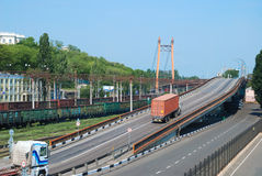 Transportation of cargoes by rail and lorry Royalty Free Stock Photos