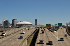 Transportation-Cars on a Interstate in New Orleans. Travel-New Orleans-Louisiana-Transportation-Two Lane Car Traffic on Interstate 10 in New Orleans and New Stock Images