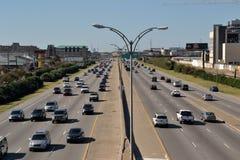 Transportation-Cars on a Interstate. Travel New Orleans-Louisiana-Trasportation-Two Lane Car Traffic on Interstate 10 in New Orleans Royalty Free Stock Photos