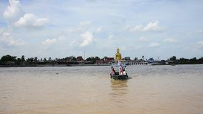 Transportation on Chao Phraya River at Nonthaburi Thailand. The Chao Phraya  is a major river in Thailand, with its low alluvial plain forming the centre of the stock footage