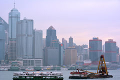 Transportation and city buildings in Hongkong Victoria harbor, year of 2013 Stock Image