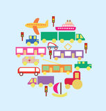 Transportation in the city vector set. Vector graphic image with colorful kinds of transportation riding the road on the green backround Royalty Free Stock Photo