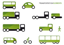 Transportation clipart set. Vector illustrations of forms of transportation in green and black, isolated on white background Royalty Free Stock Image