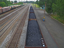 Transportation of coal and fuel by railroad. Railway shipping, fuel and energy, the Kuzbass coal region of Russia Stock Photography